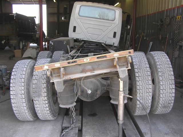 truck frame in need of straightening by empire truck rebuilders